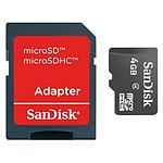 Sandisk Micro SDHC 4 Go + adaptateur SD (Classe 4)