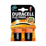 Duracell Piles Alcaline Plus Power 9V 6LR61 (par 2)