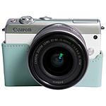 Canon EOS M100 blanc + EF-M 15-45 mm + Etui turquoise