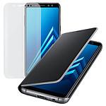 Samsung Flip Neon (noir) + BigBen Verre Trempé - Galaxy A8