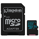 Kingston microSDXC 64 Go Canvas Go! (90Mo/s) + adapt. SD