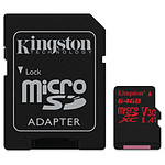 Kingston microSDXC 64 Go Canvas React (100Mo/s) + adapt. SD