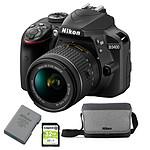 Nikon D3400 + AF-P DX 18-55 VR + batterie + étui