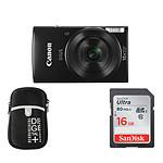 Canon Ixus 190 Noir + Etui + Carte SD 16 Go (Pack)