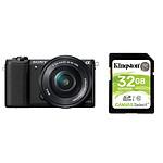 Sony Alpha 5100 + 16-50 mm Noir + Carte SD Kingston 32 GO