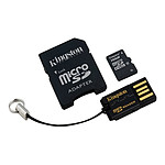 Kingston microSDHC 16 Go + adaptateur SD et USB