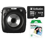 Fujifilm Instax Square SQ10 + Carte microSD Verbatim 16 GO + Films Instax Square