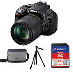 Nikon D5300 + AF-S DX 18-105 VR + Carte SD Verbatim 32 GO + Trépied Stablitz TSA203P + Sacoche Nikon CF-EU11