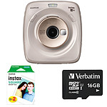 Fujifilm Instax Square SQ20 Beige + Carte microSD Verbatim 16 GO + Instax Square Bipack