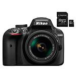 Nikon D3400 + AF-P 18-55 VR Noir + Carte micro SD Kingston 16 GO avec adaptateur