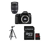 Canon EOS 80D + EF-S 18-200mm f/3.5-5.6 IS + Carte microSD Kingston 32 GO avec adaptateur + Trépied Cullmann Primax 350