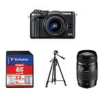 Canon EOS M6 Noir + EF-M 15-45 mm IS STM + Carte SD Verbatim 32 GO + Trépied TS190 + Tamron AF 70-300 MM F/4-5,6 DI LD IF Macro 1/2 Canon