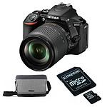 Nikon D5600 + AF-P 18-55 VR + Carte microSD Kingston 16 GO avec adaptateur + Sacoche Nikon CF-EU11