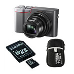 Panasonic Lumix DMC-TZ100 Silver + Carte microSD Kingston 16 GO + Etui Vanguard Beneto 6 Black
