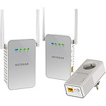 Netgear PLPW1000T - Pack de 1 CPL 1000 (prise intégrée) + 2 adaptateurs Wifi AC1000 (prise intégrée)