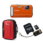 Panasonic Lumix DMC-FT30 Orange + Carte microSD Kingston 16 GO avec adaptateur + Lowepro Tahoe 15 II Rouge