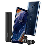 Nokia 9 PureView (bleu) - 128 Go - 6 Go + Nokia True Wireless Earbuds (noir)