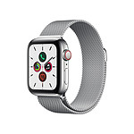 Apple Watch Series 5 Acier (Argent - Bracelet Milanais Argent) - Cellular - 40 mm