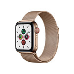 Apple Watch Series 5 Acier (Or- Bracelet Milanais Or) - Cellular - 40 mm