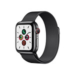 Apple Watch Series 5 Acier (Noir - Bracelet Milanais Noir) - Cellular - 40 mm