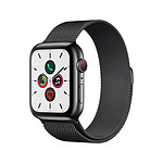 Apple Watch Series 5 Acier (Noir - Bracelet Milanais Noir) - Cellular - 44 mm