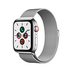 Apple Watch Series 5 Acier (Argent - Bracelet Milanais Argent) - Cellular - 44 mm