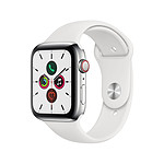 Apple Watch Series 5 Acier (Argent - Bracelet Sport Blanc) - Cellular - 44 mm