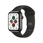 Apple Watch Series 5 Acier (Noir - Bracelet Sport Noir) - Cellular - 44 mm