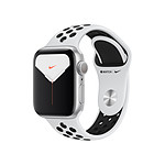 Apple Watch Nike Series 5 Aluminium (Argent- Bracelet Sport Platine Pur/Noir) - GPS - 40 mm