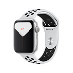 Apple Watch Nike Series 5 Aluminium (Argent- Bracelet Sport Platine Pur/Noir) - GPS - 44 mm