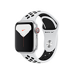 Apple Watch Nike Series 5 Aluminium (argent- Bracelet Sport Platine Pur / Noir) - Cellular - 40 mm