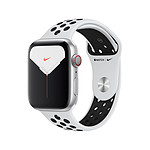 Apple Watch Nike Series 5 Aluminium (argent- Bracelet Sport Platine Pur / Noir) - Cellular - 44 mm