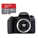Canon EOS 77D Boîtier Nu Noir + SanDisk microSDXC 64Go
