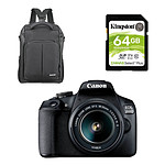Canon EOS 2000D + EF-S 18-55 mm + Cullmann Backpack 200 + Kingston SDS2/64Go