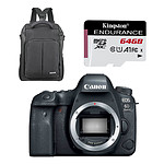 Canon EOS 6D Mark II Boîtier Nu Noir + Cullmann BackPack 200 + Kingston SDCE/64Go