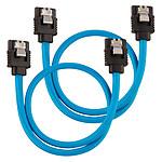 Câbles SATA gainés (bleu) - 30 cm (lot de 2)