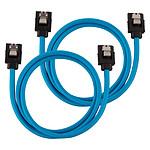 Câbles SATA gainés (bleu) - 60 cm (lot de 2)