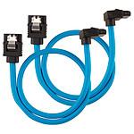 Câbles SATA gainés droits vers coudés (bleu) - 30 cm (lot de 2)