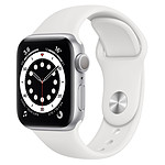 Apple Watch Series 6 Aluminium (Argent - Bracelet Sport Blanc) - GPS - 40 mm