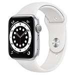 Apple Watch Series 6 Aluminium (Argent- Bracelet Sport Blanc) - GPS - 44 mm