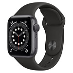 Apple Watch Series 6 Aluminium (Gris sidéral - Bracelet Sport Noir) - GPS - 40 mm