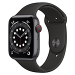 Apple Watch Series 6 Aluminium (Gris sidéral - Bracelet Sport Noir) - Cellular - 44 mm