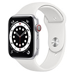 Apple Watch Series 6 Aluminium (Argent- Bracelet Sport Blanc) - Cellular - 44 mm
