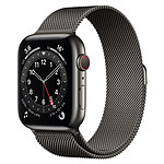 Apple Watch Series 6 Acier inoxydable (Graphite- Bracelet Milanais Graphite) - Cellular - 44 mm