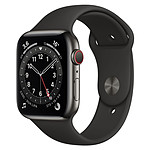 Apple Watch Series 6 Acier inoxydable (Graphite - Bracelet Sport Noir) - Cellular - 44 mm