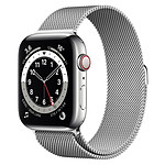 Apple Watch Series 6 Acier inoxydable (Argent - Bracelet Milanais Argent) - Cellular - 44 mm