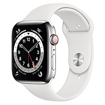 Apple Watch Series 6 Acier inoxydable (Argent- Bracelet Sport Blanc) - Cellular - 44 mm