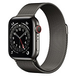 Apple Watch Series 6 Acier inoxydable (Graphite - Bracelet Milanais Graphite) - Cellular - 40 mm