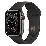 Apple Watch Series 6 Acier inoxydable (Graphite - Bracelet Sport Noir) - Cellular - 40 mm