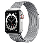 Apple Watch Series 6 Acier inoxydable (Argent - Bracelet Milanais Argent) - Cellular - 40 mm